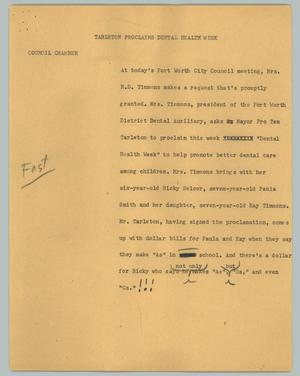 Primary view of object titled '[News Script: Tarleton proclaims dental health week]'.