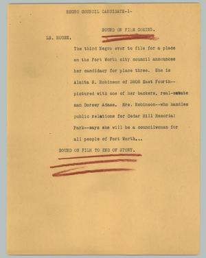 Primary view of object titled '[News Script: Negro council candidate]'.