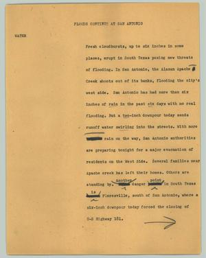 Primary view of object titled '[News Script: Floods continue at San Antonio]'.