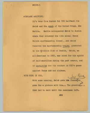 Primary view of object titled '[News Script: Swink]'.