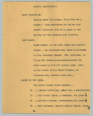 Primary view of object titled '[News Script: Council candidates]'.