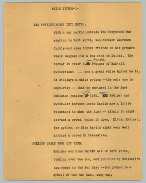 Primary view of object titled '[News Script: White python]'.