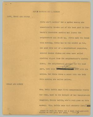Primary view of object titled '[News Script: Elvis nothing but a monkey]'.