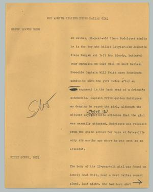 Primary view of object titled '[News Script: Boy admits killing young Dallas girl]'.