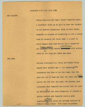 Primary view of object titled '[News Script: Papworth gets five year term]'.