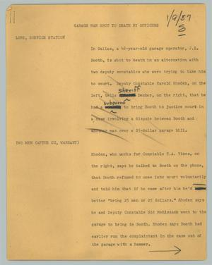 Primary view of object titled '[News Script: Garage man shot to death by officers]'.