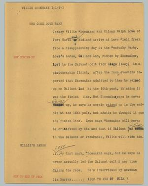 Primary view of object titled '[News Script: Willie Shoemake]'.