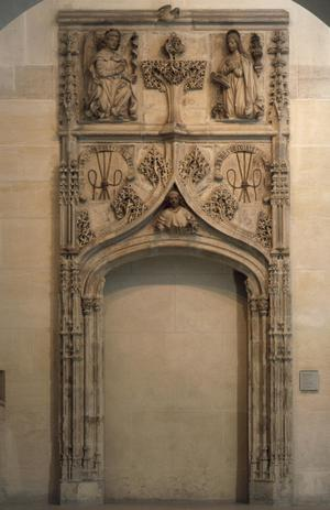 Doorway decorated with an Annunciation