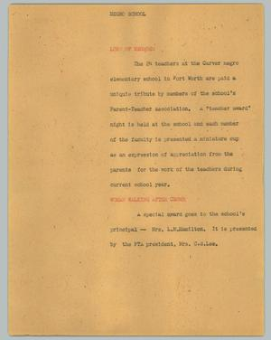 Primary view of object titled '[News Script: Negro school]'.
