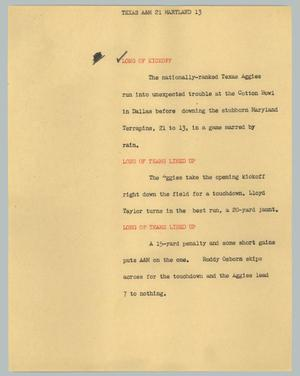 Primary view of object titled '[News Script: Texas A&M 21 Maryland 13]'.