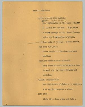 Primary view of object titled '[News Script: Rain -- downtown]'.