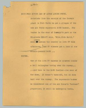 Primary view of object titled '[News Script: B-58]'.
