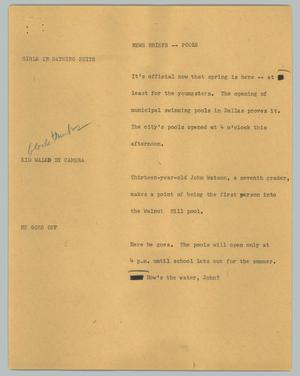 Primary view of object titled '[News Script: News briefs - pools]'.