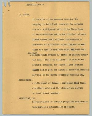 Primary view of object titled '[News Script: Memorial Day]'.