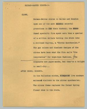 Primary view of object titled '[News Script: Neiman-markup circus]'.