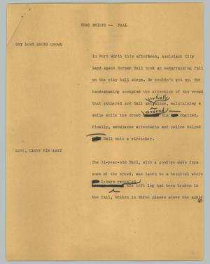 Primary view of object titled '[News Script: Fall]'.