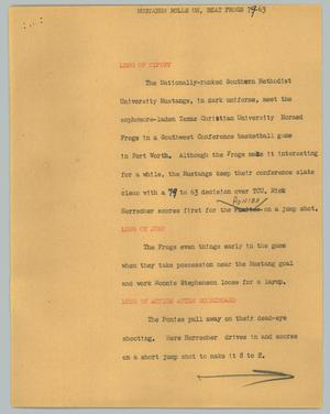 Primary view of object titled '[News Script: Mustangs roll on, beat Frogs]'.