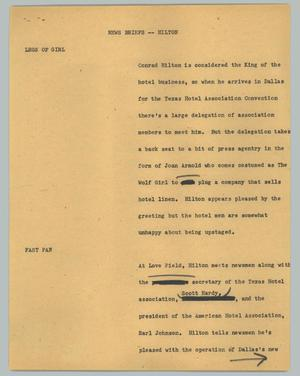 Primary view of object titled '[News Script: News briefs - Hilton]'.
