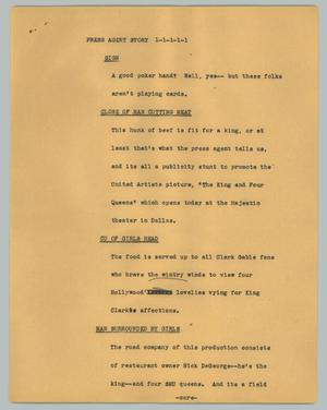 Primary view of object titled '[News Script: Press agent story]'.