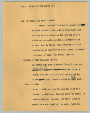 Primary view of object titled '[News Script: Joe E. Brown in Fort Worth]'.
