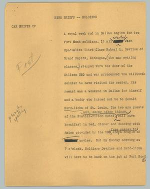 Primary view of object titled '[News Script: Soldiers]'.