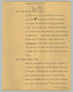 Primary view of object titled '[News Script: Narcotics hearing]'.