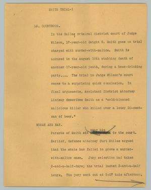 Primary view of object titled '[News Script: Smith trial]'.