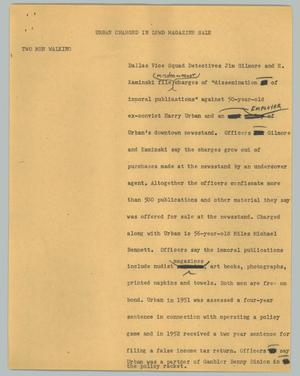 Primary view of object titled '[News Script: Urban charged in lewd magazine sale]'.