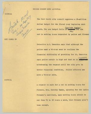 Primary view of object titled '[News Script: Record budget wins approval]'.