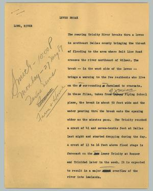 Primary view of object titled '[News Script: Levee break]'.