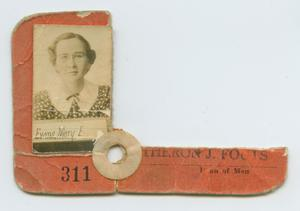 Primary view of object titled '[Identification Ticket for Mary Evans]'.