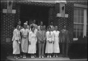 Primary view of object titled '[Group of Students Outside Building]'.