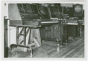 Primary view of object titled '[Moog synthesizer in a recording studio]'.
