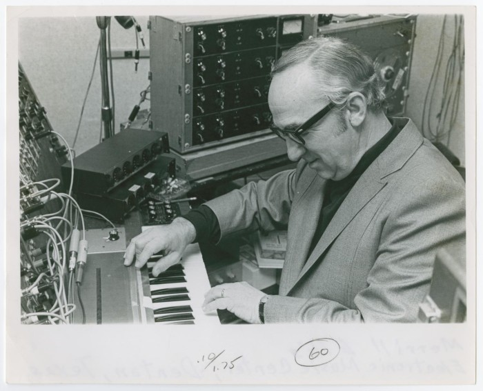 Merrill Ellis at the synthesizer in the NTSU Electronic