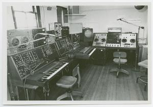 Primary view of object titled '[The NTSU electronic music center studio]'.