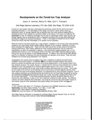 Primary view of object titled 'Developments on the Toroid Ion Trap Analyzer'.