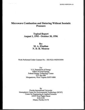 Primary view of object titled 'Microwave Combustion and Sintering Without Isostatic Pressure'.