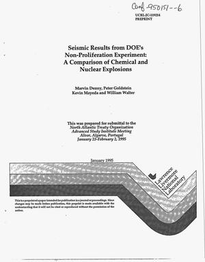 Primary view of object titled 'Seismic results from DOE`s non-proliferation experiment: A comparison of chemical and nuclear explosions'.