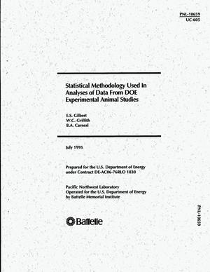 Primary view of object titled 'Statistical methodology used in analyses of data from DOE experimental animal studies'.