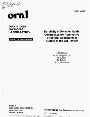 Primary view of object titled 'Durability of polymer matrix composites for automotive structural applications: A state-of-the-art review'.