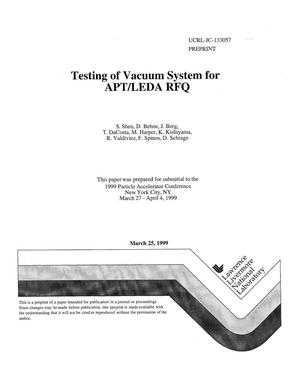Primary view of object titled 'Testing of vacuum system for APT/LEDA RFQ'.