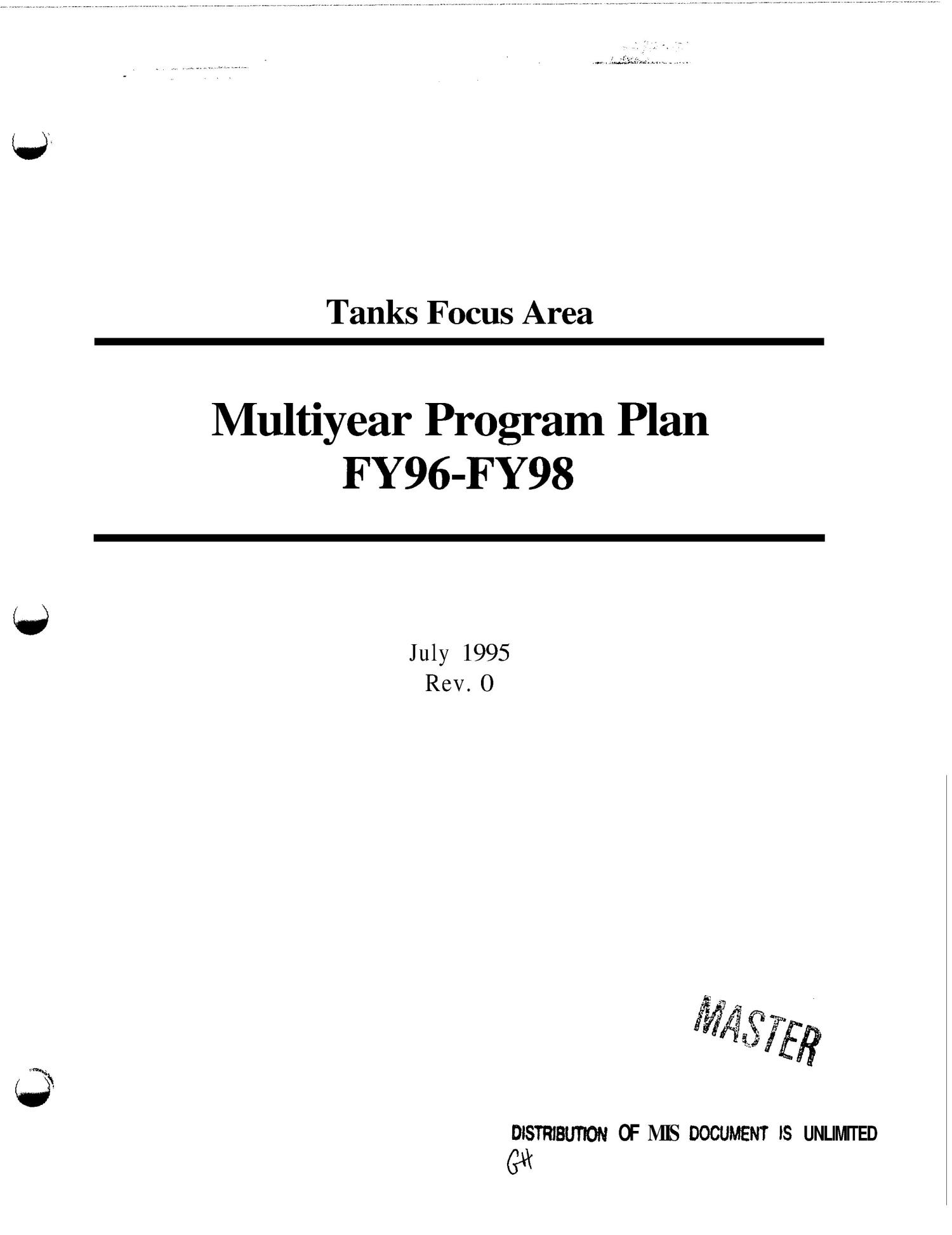 Tanks focus area multiyear program plan - FY96-FY98                                                                                                      [Sequence #]: 1 of 178