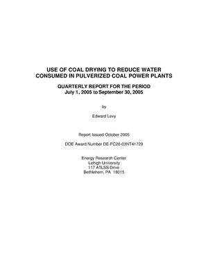 Primary view of object titled 'USE OF COAL DRYING TO REDUCE WATER CONSUMED IN PULVERIZED COAL POWER PLANTS'.