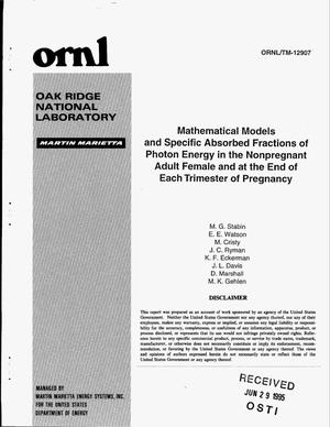 Primary view of object titled 'Mathematical models and specific absorbed fractions of photon energy in the nonpregnant adult female and at the end of each trimester of pregnancy'.