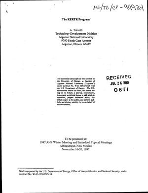Primary view of object titled 'The RERTR program.'.