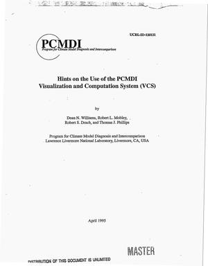 Primary view of object titled 'Hints on the use of the PCMDI Visualization and Computation System (VCS)'.