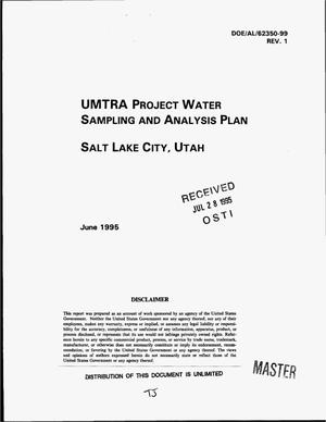 Primary view of object titled 'UMTRA Project water sampling and analysis plan, Salt Lake City, Utah. Revision 1'.