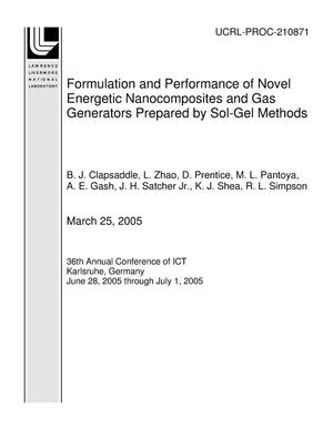 Primary view of object titled 'Formulation and Performance of Novel Energetic Nanocomposites and Gas Generators Prepared by Sol-Gel Methods'.