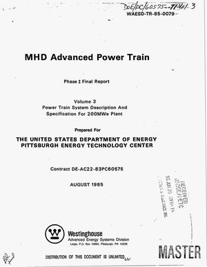 Primary view of object titled 'MHD advanced power train. Phase 1, Final report: Volume 3, Power train system description and specification for 200MWe Plant'.