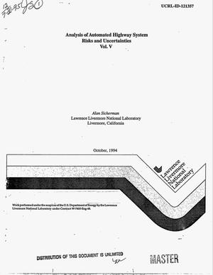 Primary view of object titled 'Analysis of automated highway system risks and uncertainties. Volume 5'.